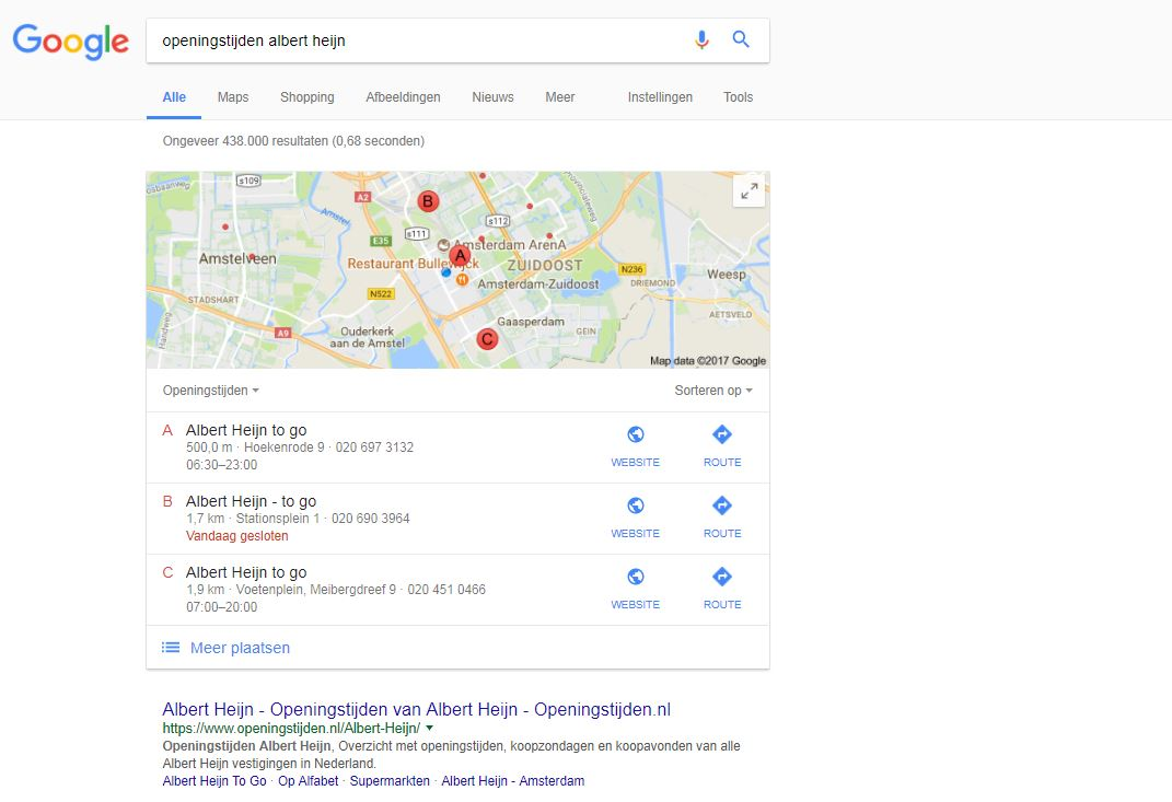 ah openingstijden local search